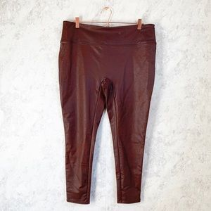 NEW All Worthy Faux Leather Brown Leggings Pants